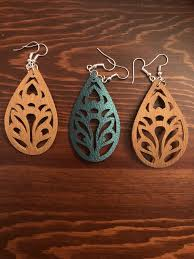 faux leather earrings cut with a cricut machine
