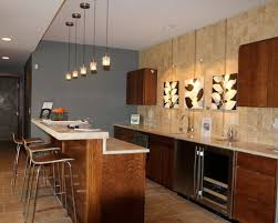 Kitchens:Conrtemporary Kitchen With Modern Bar Stools And Wood Bar Table  Also Wood Kitchen Cabinet