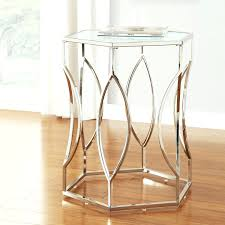Davlin Hexagonal Metal Frosted Glass Accent End Table By Inspire Q Bold By  Inspire Q Black Metal Glass Side Table Metal And Glass End Tables Uk Black  Metal ...