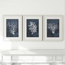 wood coral 3 piece framed graphic art set in blue on navy blue and teal wall art with navy blue framed art wayfair