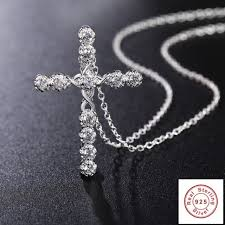 crystal cross pendant necklace 925 sterling silver chain women lady rosary