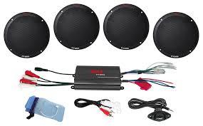 pyle plmrkt4b marine and waterproof amplifier speaker kits 2 channel marine speaker system amplifier