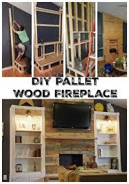 pallet wood wall fireplace. diy pallet wood fireplace wall