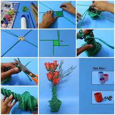 News Paper Flower Vase Diy Newspaper Weaved Flower Vase Usefuldiy Com