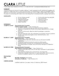 Licensed Professional Career Counselor Resume Examples Substance