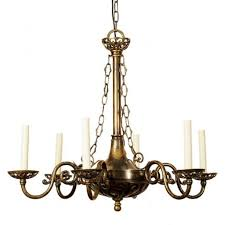 empire edwardian antique brass chandelier with 6 candle lights