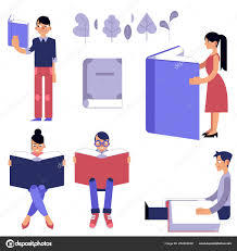 education process set male and female flat cartoon characters with open books reading and studying