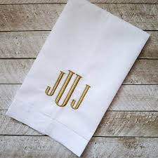 monogrammed linen hand towel personalized tea towel embroidered hemstitched linen towel