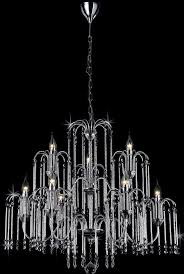 bette chrome waterfall 9 light chandelier with crystal drops