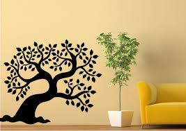 forest leafy tree silhouette wall stickers