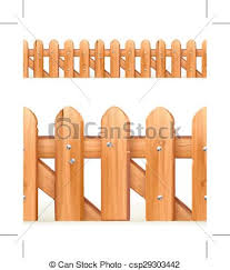 Wooden fence seamless border isolated on white background eps