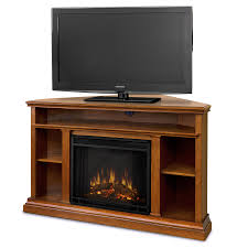 image of corner electric fireplace with storage