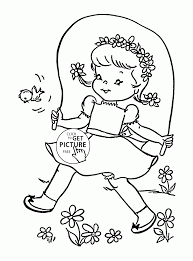 Cute Girl In Spring Day Coloring Page For Kids Seasons Coloring