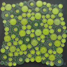 Lime Green Pebble Bubble Glass Mosaic Tile VG-UPB87