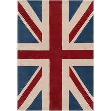 Hand-tufted Contemporary Union Jack Red Pipefish Abstract Rug (5' ...