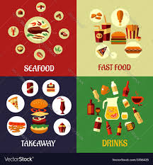 Seafood fast food and drinks flat icons ...