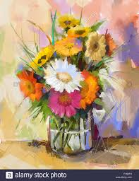 oil painting still life gerbera flowers in glass vase white red and yellow color of gerbera bouquet flowers