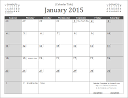 2015 Calendar Template Microsoft Calendars 2015 Templates Weekly