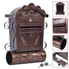 Lockable Bedroom Furniture Wall Mounted Mailbox Vintage Bronze Lockable Letterbox Post