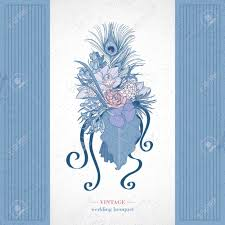 Exotique Bouquet De Mariage Style Vintage Dessin La Main La
