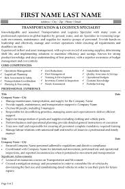 Transportation Logistics Specialist Resume Sample & Template