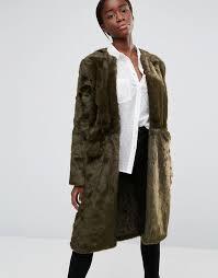parka london evie luxurious faux fur collarless coat