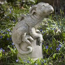 campania international puddles the baby dragon cast stone garden statue 119 99