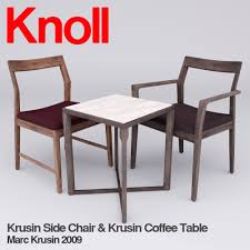 krusin side chair and krusin side table 3d model