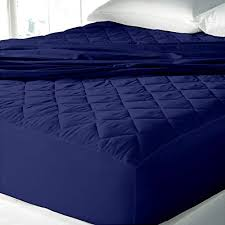 fitted mattress protector. Premium Hotel Linen Waterproof Quilted Fitted Mattress Protector Cum Bed Cover For Customised Single Size With Skirting-By Cloth Fusion-NavyBlue N