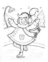 Winter Coloring Pages Girl Skating Winter Coloring Pages Of