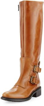 charles david perina mid calf leather boot cognac