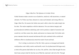 edgar allan poe the epitome of a gothic writer university document image preview
