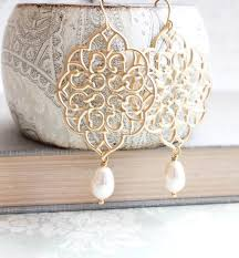 gold filigree earrings big lace dangle pretty modern large gold chandelier with pearl drop boho bridal jewelry bridesmaids gift