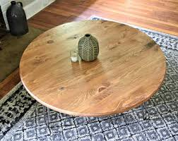 Round Rustic Wooden Coffee Table With Metal Hairpin Legs Custom