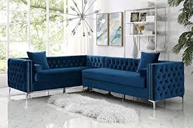 velvet tufted sectional.  Velvet Giovanni Blue Corner Sectional Sofa  120u0026quot Left Facing  Velvet Tufted  Nailhead With