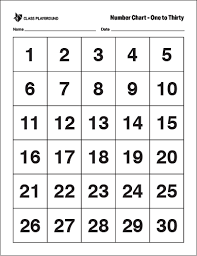 Printable Number Chart 1 30 Number Chart Printable