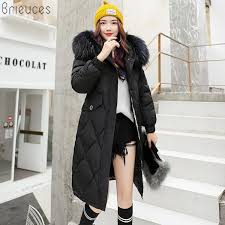 brieuces women s thick warm long winter jacket women parkas 18 faux fur collar hooded cotton padded