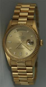 used rolex pre owned rolex used rolex watches rolex watch certified pre owned rolex men s president elegant original champagne diamond dial and fluted gold bezel hard to tell from brand new circa 1990 s