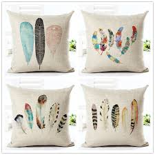 Decorative Pillows With Feather Design Classy Feather Style 3232cm Square Home Decorative Pillow Music Note