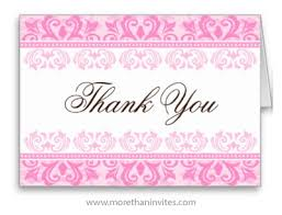 Elegant Thank You Card With Pink Damask Borders More Than