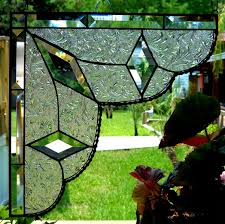 custom made stained glass lace curtain pair gingerbread trim corners or room dividers