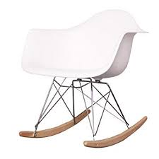 eames inspired rocking chair. Brilliant Chair Charles Eames Style Cool White Plastic Retro Rocking Chair Intended Inspired Amazon UK