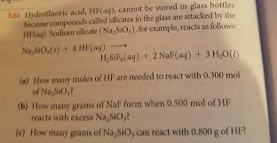 Solved Hydrofluoric Acid Hf Aq Cannot Be Stored In Gla