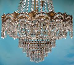european basket style crystal and glass chandelier