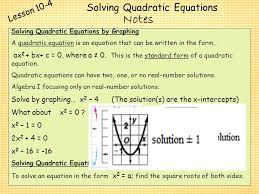 21 solving quadratic equations