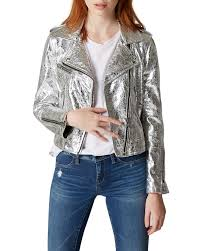 blanknyc foiled faux leather moto jacket charcoal