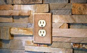 stone veneer kitchen backsplash. Stacked Natural Stone Veneer Rock Panels With An Outlet Kitchen Backsplash E