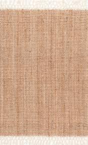 fringe handwoven jute area rug natural