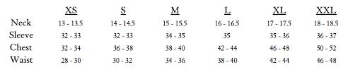 Oxford Jacket Size Chart Sizing Guide Weyhill Wharf