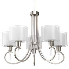 invite brushed nickel five light chandelier with white silk mylar glass